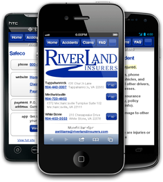 Mobile insurance website for Riverland Insurers at m.riverlandinsurers.com